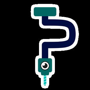 Logo de Perce-image représentant l'initiale P sous forme d'un vilebrequin avec un oeil