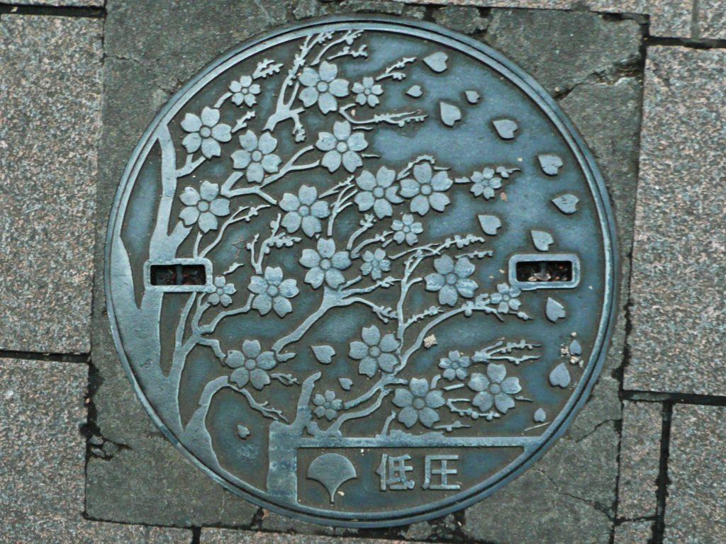 Plaque du réseau électirque de parc d'Ueno représentant des branches de cerisiers en fleur, des pétales volent vers la droite