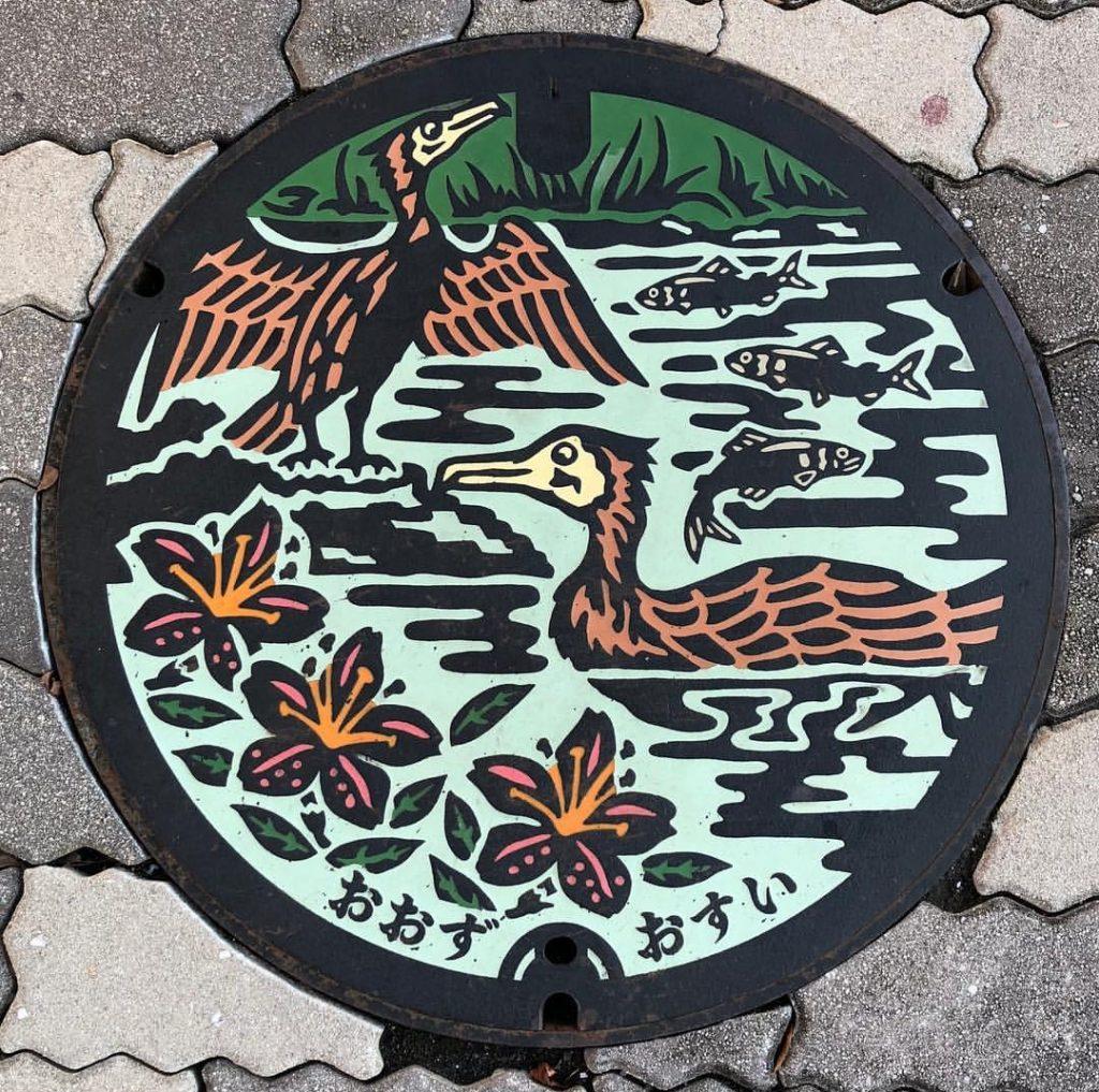 Plaque d'Oozu - Deux cormorans