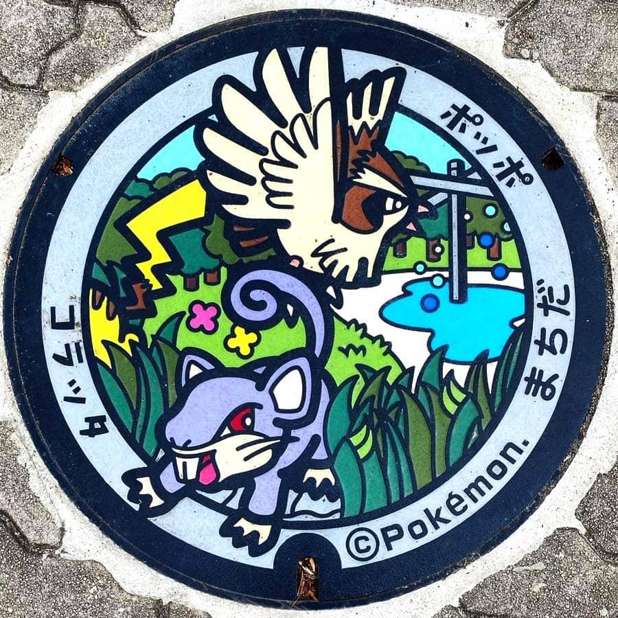 PokéPlak avec Rattata, Roucool et un Pikachu qui s'enfuie