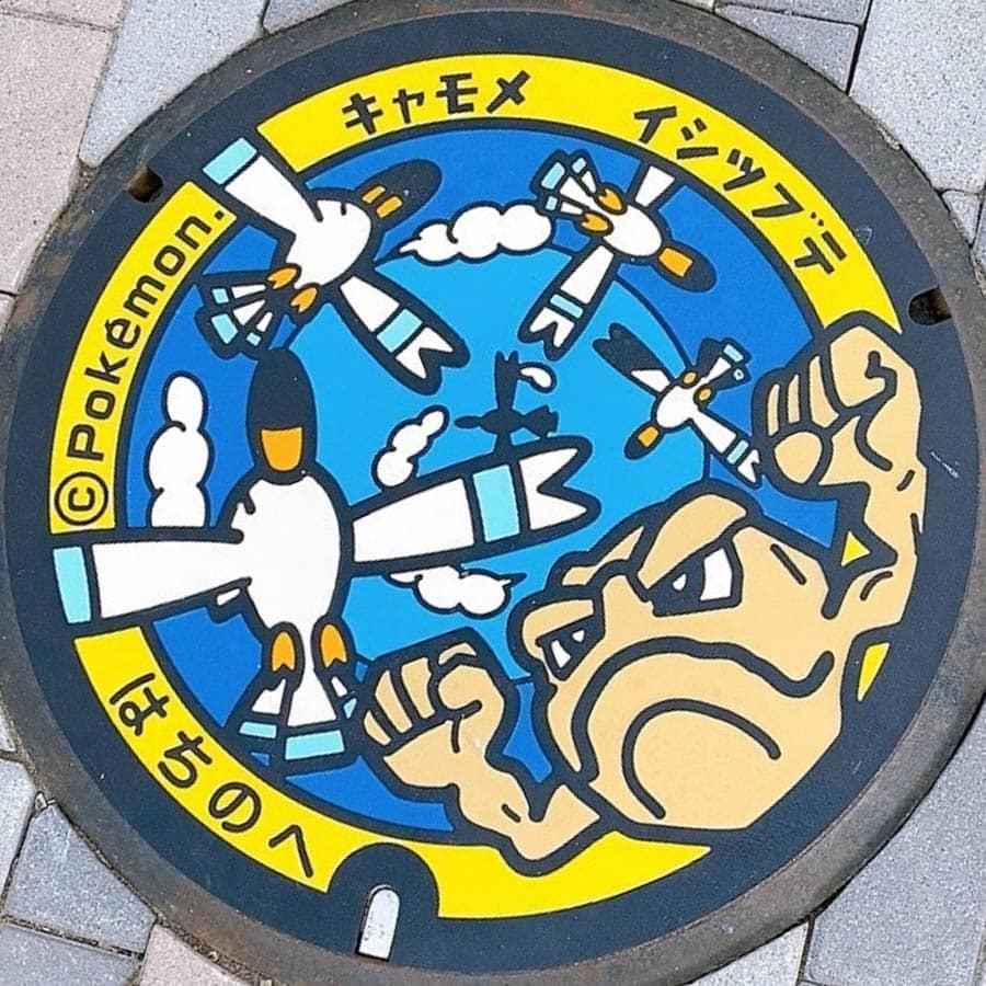PokéPlak de Hachinohe figurant Racaillou et cinq Goélise
