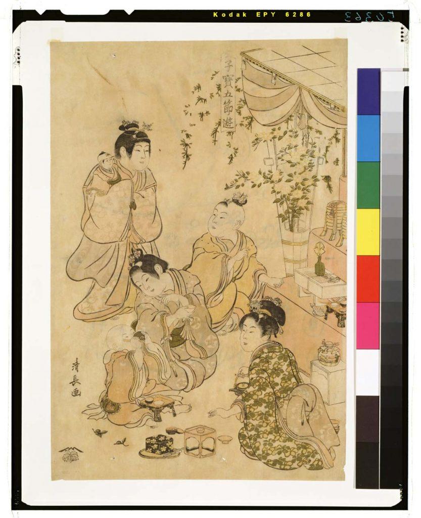 Estampe de Kiyonaga représentant des jeunes filles lors de la fête des poupées